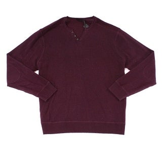 Raffi NEW Blackberry Red Men 2XL Pullover Henley Wool Knit Sweater