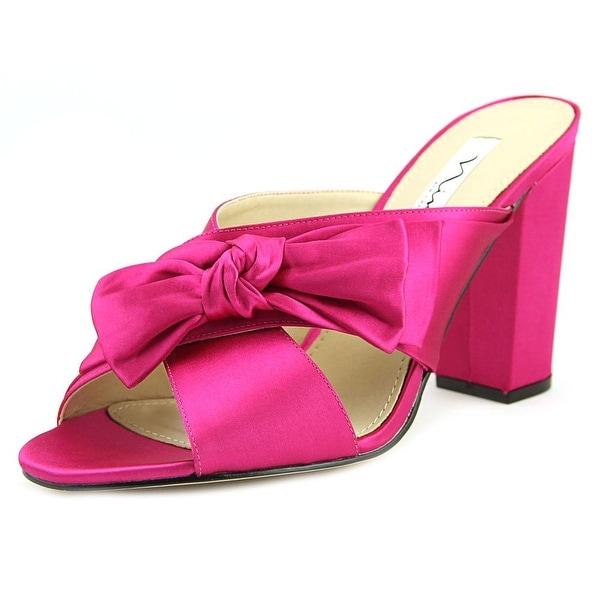 Nina Samina Women Open Toe Canvas Pink Slides Sandal
