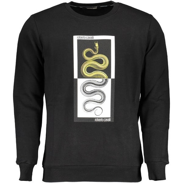 ROBERTO CAVALLI Mens Black Logo Snake Crew Neck Sweatshirt. Opens flyout.