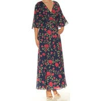 FAME AND PARTNERS Womens Navy Cut Out Floral Bell Sleeve V Neck Maxi Wrap Dress Dress  Size: 2