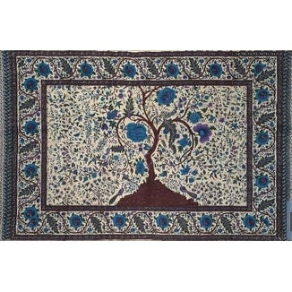Handmade 100% Cotton Tree of Life Tapestry Tablecloth Spread Twin 70x104 Purple