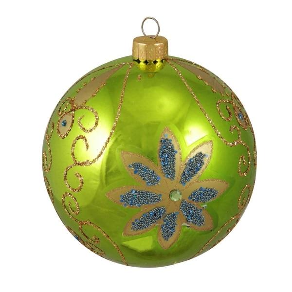 "Key Lime Green Shiny Floral Shatterproof Christmas Ball Ornament 4"" (100mm)"