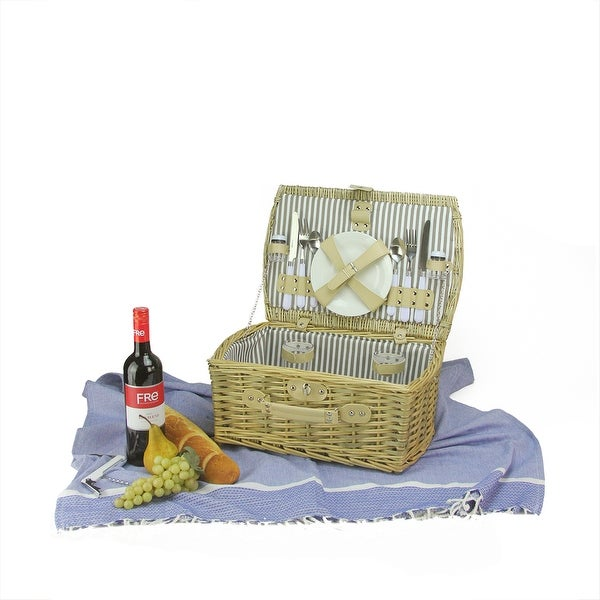 2-Person Hand Woven Warm Gray and Natural Willow Picnic Basket Set with Accessories