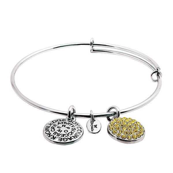 Chrysalis Expandable November Bangle Bracelet with Yellow Swarovski elements Crystals in Rhodium-Plated Brass