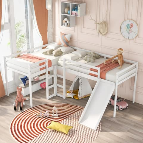 L-Shaped Loft Bed with Ladders and Slide,Twin Size