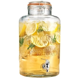 Palais Glassware Glass Beverage Dispenser with Bail and Trigger Locking Lid - 2 Gallon ('Del Sol' Embossed)