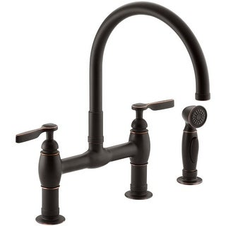 Kohler K-6131-4 Parq Double Handle Bridge Faucet with Sidespray (3 options available)