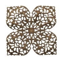 Vintaj Natural Brass Clover Petal Filigree Stamping 59mm (1)