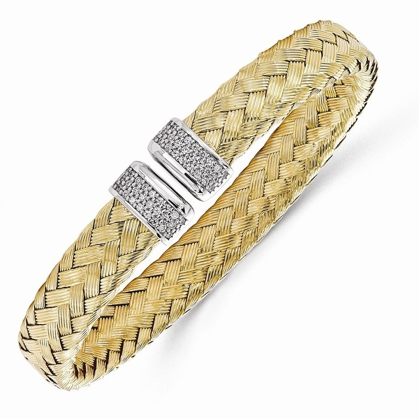 Italian Sterling Silver Gold-plated CZ Woven Flexible Cuff