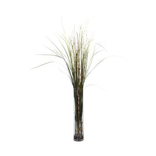 Nearly Natural Grass & Bamboo with Cylinder Silk Plant Green