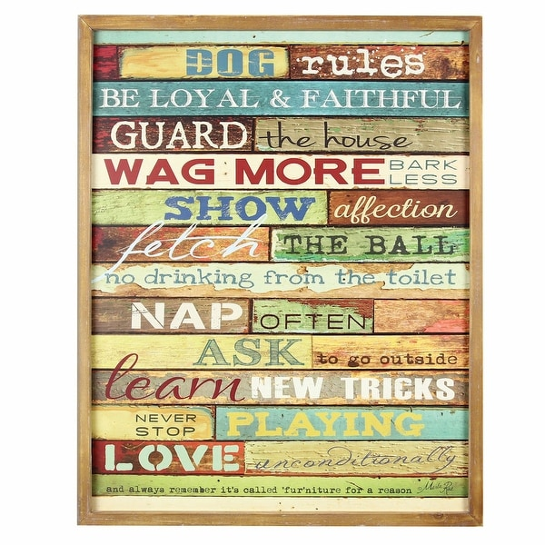 Dog Rules Wooden Sign - Funny Wall Plaque