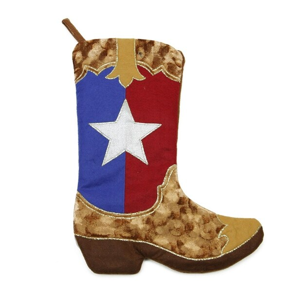 "18"" Texas Flag Cowboy Boot Christmas Stocking with Shadow Velveteen"