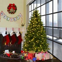 Costway 6Ft Pre-Lit Artificial PVC Christmas Tree Spruce Hinged w/560 LED Lights & Stand