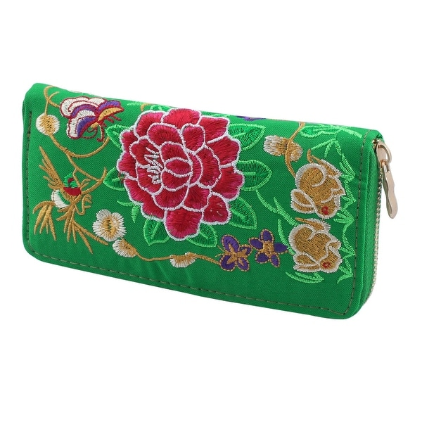 Woman Embroidered Flower Design Rectangle Shape Zip Up Coin Purse Wallet Green