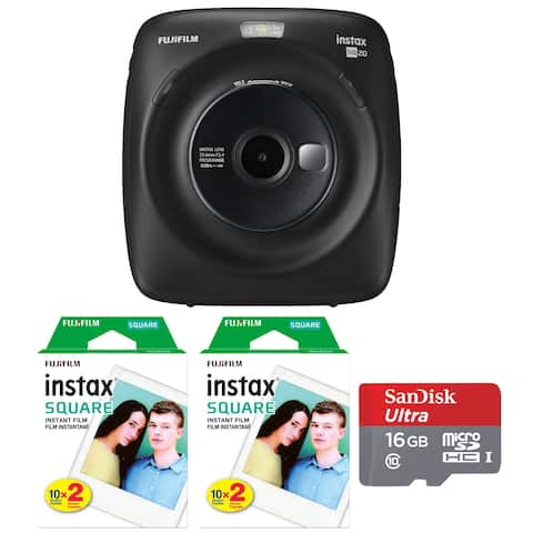 Fujifilm Instax Square SQ20 Instant Camera (Black) with Film and Memory Card Kit