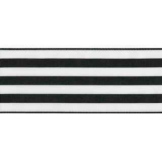 """Double Face Satin Ribbon Striped 2""""X25yd-Black/White"""