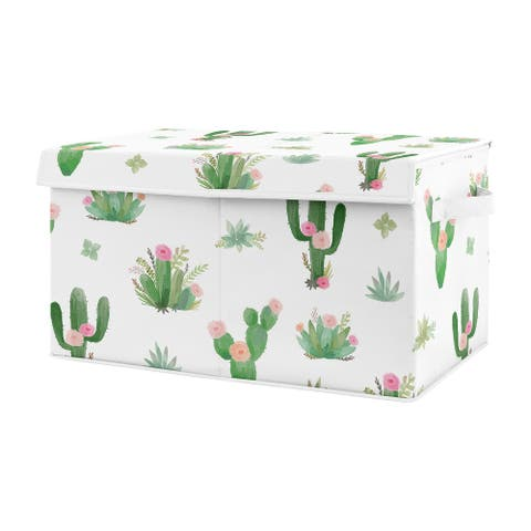 Sweet Jojo Designs Pink and Green Boho Watercolor Cactus Floral Collection Girl Kids Fabric Toy Bin Storage