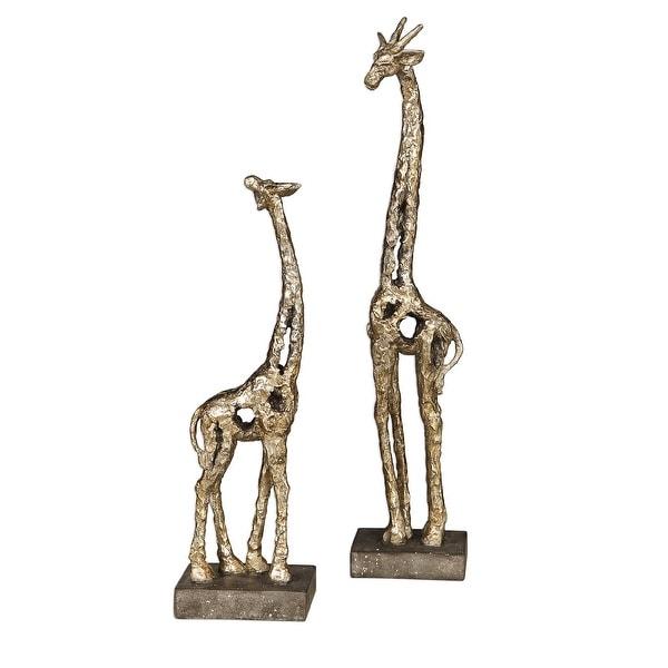 "Set of 2 Gold Clay Giraffe Figurines 20"" - N/A"
