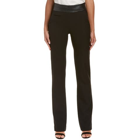 Halston Heritage Leather-Trim Pant