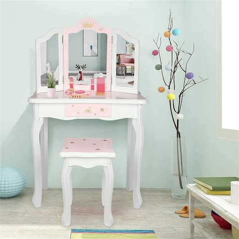 Wooden Toy Children's Dressing Table Drawer with Three Foldable Mirror