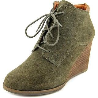 Lucky Brand Sumba Women Open Toe Suede Green Wedge Heel