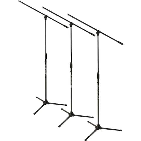 Classic Series Microphone Stand With Three-Way Adjustable Boom Arm And Stable Tripod Base - 3-Pack