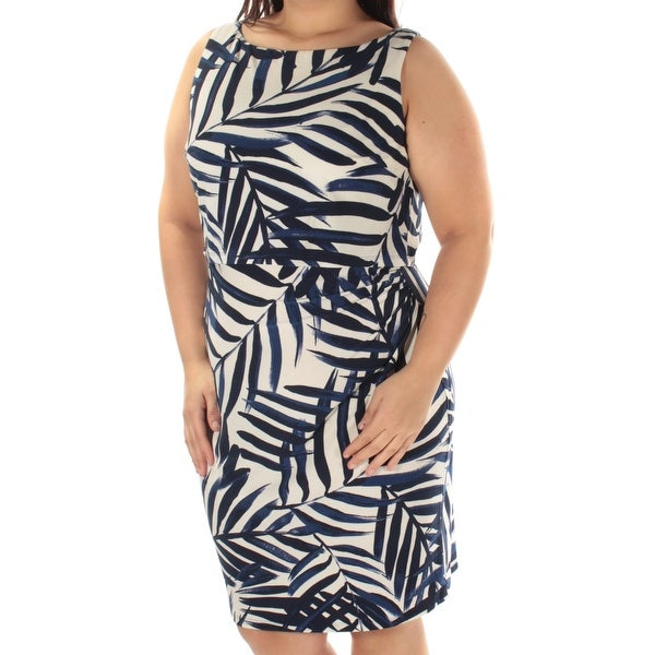 180b72eceb4da AMERICAN LIVING Womens Blue Palm Leaves Sleeveless Jewel Neck Above The  Knee Sheath Dress Size: 16