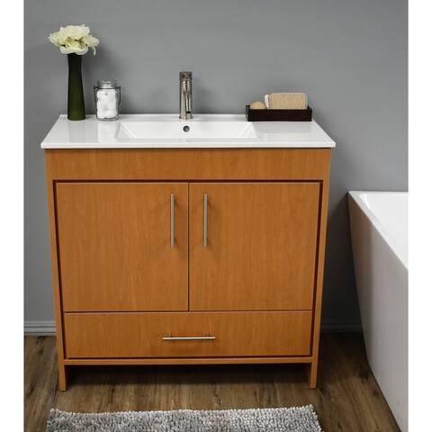 Volpa USA Pacific 36-inch Honey Maple Freestanding Bathroom Vanity Set