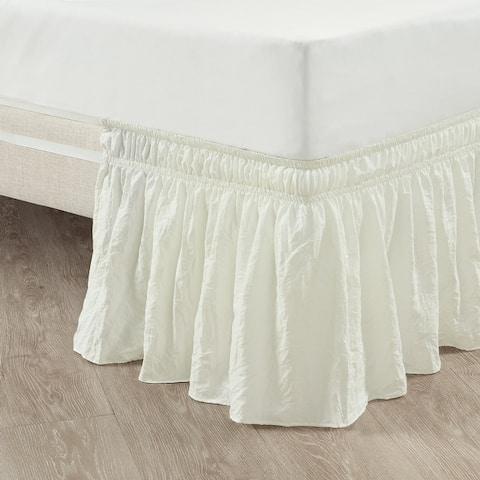Lush Decor Ruched Ruffle Elastic Easy Wrap Around Bedskirt