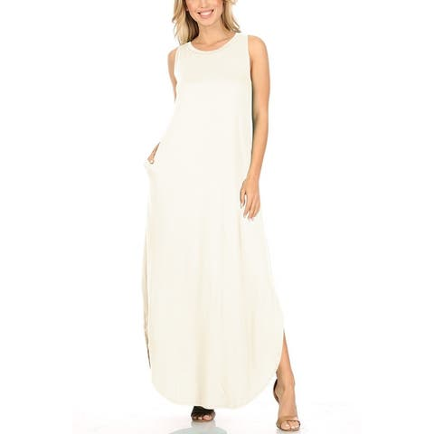 Women's Solid Side Slits Sleeveless Maxi Dress
