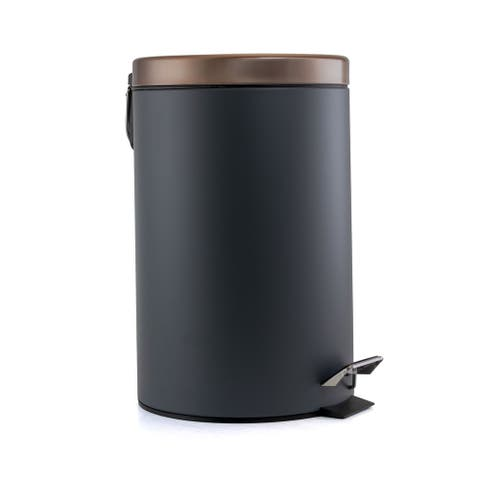 Elama 12 Liter Stylish Grey and Copper Soft Pedal Trash Bin