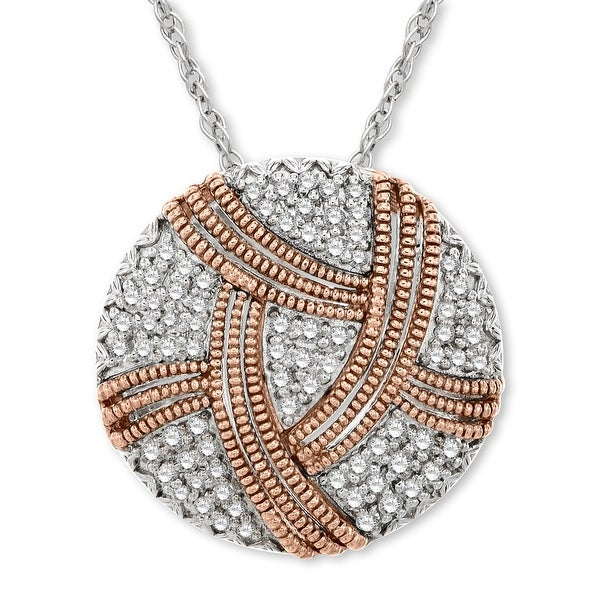 1/3 ct Diamond Disc Pendant in Sterling Silver & 14K Rose Gold