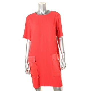 DKNY Womens Crepe Short Sleeves Wear to Work Dress - M