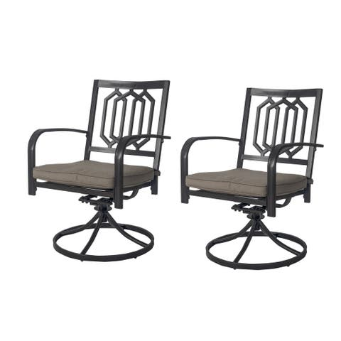 Kozyard Modern Classic Outdoor Metal Swivel Chairs Patio Dining Rocker Chair with Cushion (2 Pack Chairs)