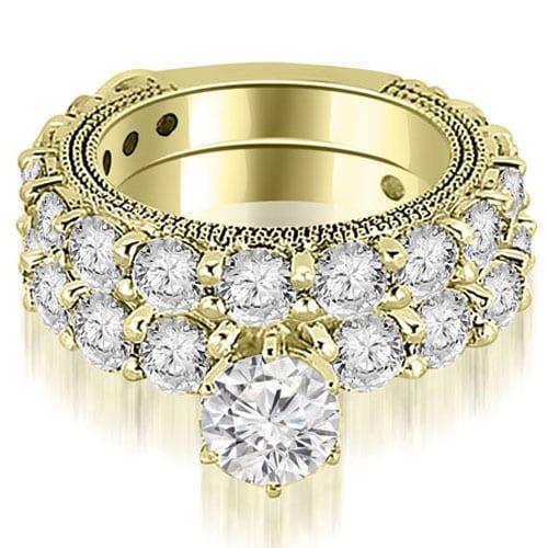 4.15 cttw. 14K Yellow Gold Antique Round Cut Diamond Engagement Set