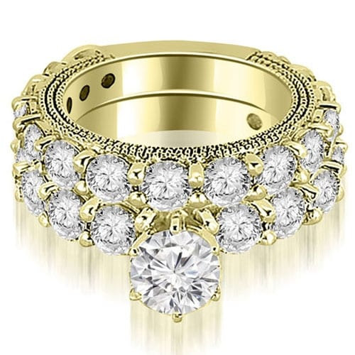 4.40 cttw. 14K Yellow Gold Antique Round Cut Diamond Engagement Set