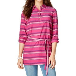 Tommy Hilfiger Womens Tunic Top Knit 1/2 Button-Down