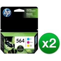 HP 564 Multi Color Original 3 Ink Cartridges (N9H57FN)(2-Pack)