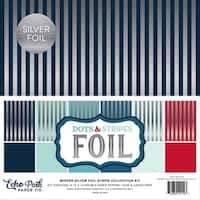 "Winter Stripes W/Silver Foil - Double-Sided Collection Pack 12""X12"" 12/Pkg"