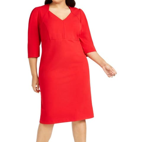 Calvin Klein Women's Sheath Dress Red Size 16W Plus V-Neck Solid