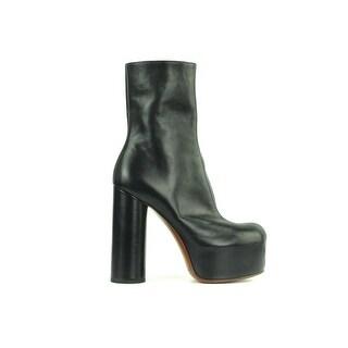 Vetements Women's Black Zip-Up calf Leather Platform Boots