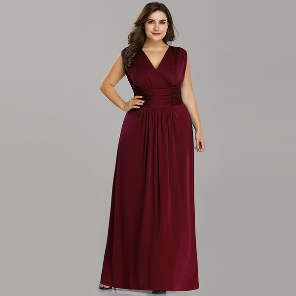 Ever-Pretty Womens Plus Size Long Maxi Ruched Evening Prom Party Dress 07661