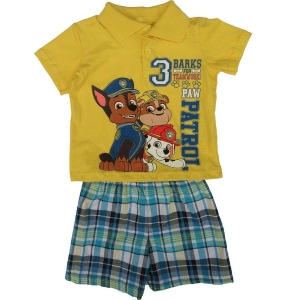 Nickelodeon Baby Boys Yellow Paw Patrol Short Sleeve 2 Pc Shorts Set