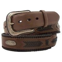 G-Bar-D Western Belt Mens Top Grain Leather Silver Brown