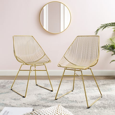 Corvus Sonne Slat Back Gold Dining Side Chair (set of 2)