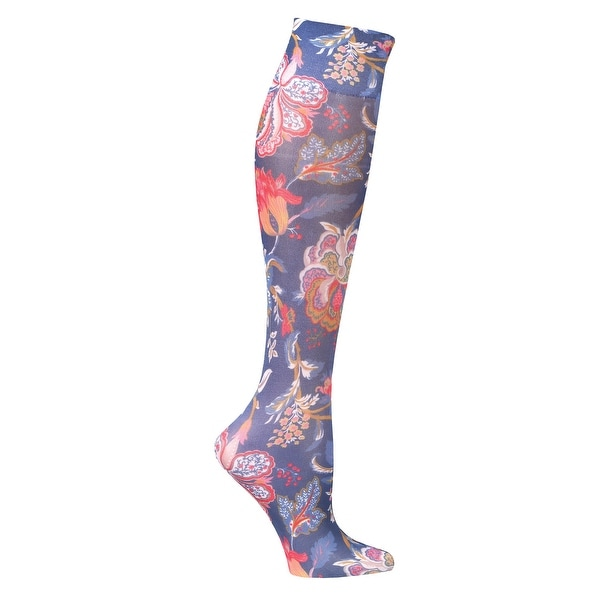 Celeste Stein Women's Moderate Compression Knee High Stockings -Tapestry on Navy - Medium