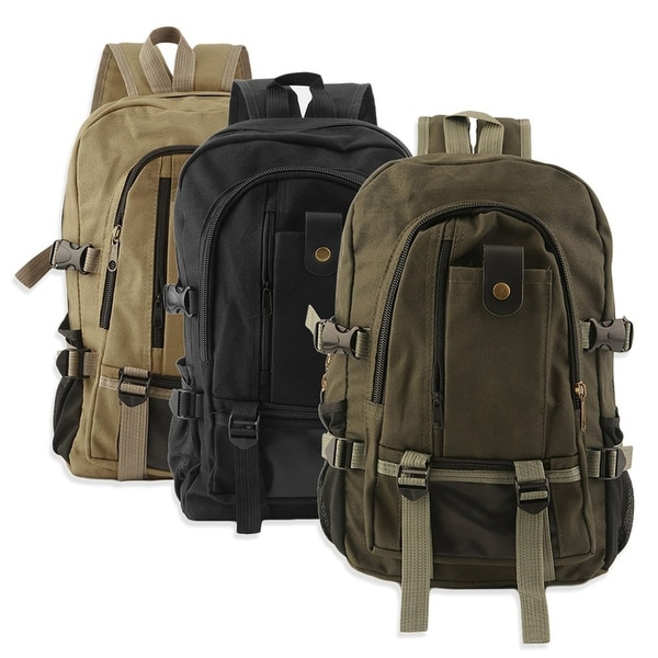 Mens Canvas Backpack Ruckpack School Satchel Laptop Shoulder Travel Hiking Bag