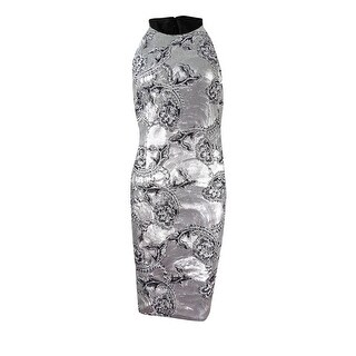 Calvin Klein Women's Embroidered Sequined Cocktail Dress - Silver