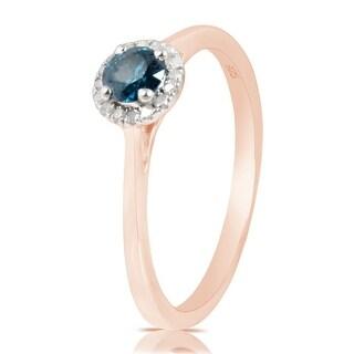0.37 Ctw Classic Round Diamond Engagement Ring W/ 0.30 Carat Blue Diamond