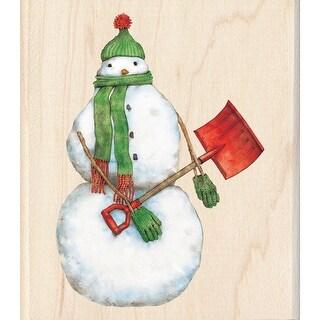 """Inkadinkado Mounted Rubber Stamp 3.5""""X4""""-Snowman Shoveler"""